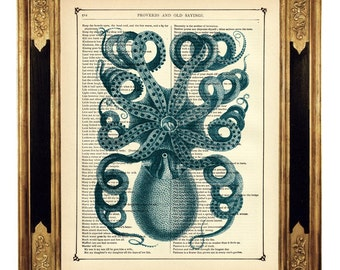 Octopus Steampunk Art Kraken Blue I Poster Sea Ocean - Vintage Victorian Book Page Art Print