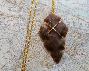 Gold Wire Wrapped Arrowhead Layered Charm Necklace, Long or Short Necklace, Unique Arrow Necklace, Arrowhead Pendant Necklace