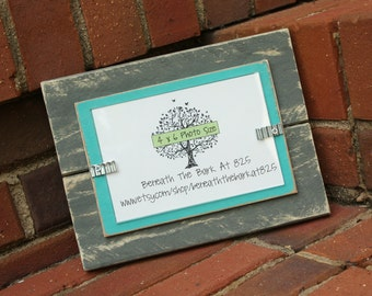 Picture Frame - Distressed Wood - Holds a 4x6 Photo - Gray and Aqua