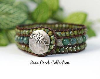 3 Row Bracelet, Indian Agate, Green, Rust, Beaded Leather Cuff, Rustic, Bohemian Leather Jewelry, Gemstone Bracelet, Leather Wrap Cuff