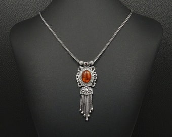 Pressed Amber Necklace Byzantine Medieval Style 925 Sterling Silver Greek Handmade Art Unique