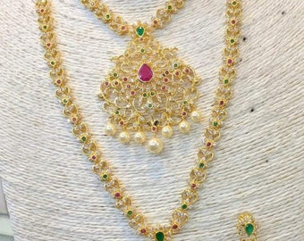 Bridal CZ Necklace, Ruby & Emerald Cubic Zircon Necklace Set, Victorian Necklace, Bridal Jewelry,Bollywood Jewelry,Statement Necklace, Polki