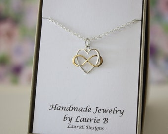Best Friend Infinity Necklace, BFF, Infinite Friendship, Sterling Silver & Gold, heart, Bestie Gift, Thank you card