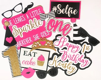 Photo Booth Props | Birthday Photo Booth Props | 1st Birthday Photo Booth Props | Sweet 16 | 21st Birthday | Pink, Black and Gold |  In