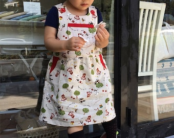 Lil CRITTERS Girl Baby Girl Dress sewing pattern Pdf,  Easy Girl Pinafore Dungaree Jumper, toddler newborn 3 6 9 12 18m 1 2 3 4 5 6 yrs