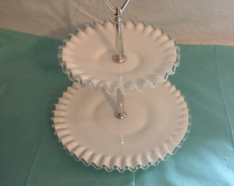Vintage fenton  milk glass serving tray.
