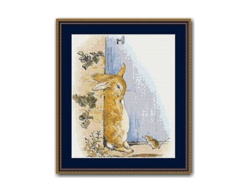 Peter Begins to Cry Cross Stitch Chart, Instant Download Cross Stitch Pattern, Beatrix Potter  (BP051)