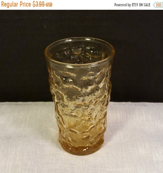 Sale Clearance Anchor Hocking Juice Glass Vintage Fire King Glass Milano Amber Honey Gold Crinkle Style Juice Tumbler Glass Kid's Juice Glas