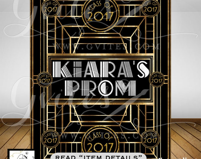 Great Gatsby PROM Step & Repeat Backdrop, 1920s photo booth wall back poster sign, backdrop personalized any Event!  PRINTABLE. By Gvites.