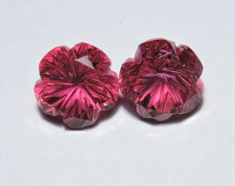 2 Pcs Very Attractive Rubilite Pink Quartz Hand Carved Flower Shaped Gemstone Beads Size 13X13 MM