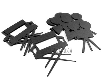 "Black Shooting Camera & Director Chair Cutouts, 2"" Black Movie Confetti-or Choose Your Colors- Set of 30pcs, 60pcs, 120pcs"
