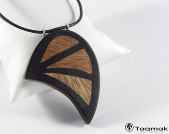 Pendant Necklace with ebony inlays in mahogany-H/F-Wood necklace with precious-made hand-Piece jewelry-unique Taamak