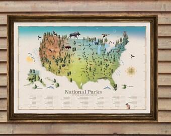 National Park Map / National Park Art / National Parks / Hiking / National Park Maps / Gift for Hiker/ Checklist Map / Best Seller