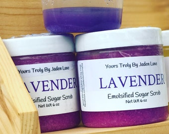 Lavender Sugar Scrub - Emulsified Sugar Scrub - Purple Scrub