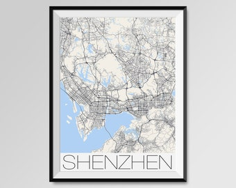 SHENZHEN Map Print, Modern City Poster, Black and White Minimal Wall Art for the Home Decor