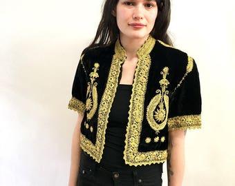 Stunning Vintage Antique Velvet Embroidered Jacket Gypsy Bohemian Top