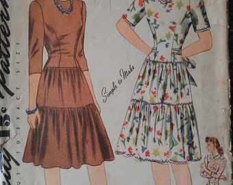 Vintage 40s Collarless Heart Shaped Neckline Tiered Skirt Fitted Dress EASY Sewing Pattern 4482 B30