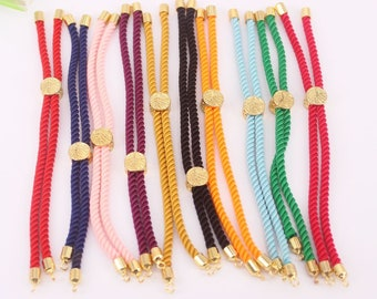 10-20pcs Mix color Charm Cotton Rope Bracelet,Adjustable Bracelet,Half-finished Cord Bracelet,Jewelry Supply for DIY