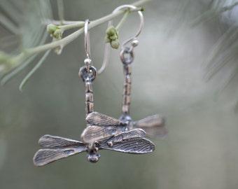 Dragonfly Earrings / Bob Burkett Design / Sterling Silver / Animal Charm / Jewelry