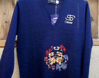 Vintage LeRoy Knitwear New With Tags Zodiac Sign Horoscope Cancer V-Neck Sweater NOS