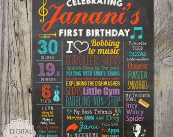 Musical Baby boys 1st Birthday Chalkboard Sign - Musical Baby girl first birthday chalk board poster photo prop - Music theme DIGITAL FILE!