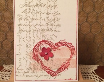 Valentine Card with Grapevine Heart