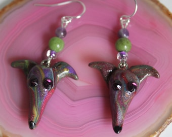 Greyhound Whippet Clay Sterling Silver Wire Earrings with Gemstone Beads (Amethyst and Jasper)