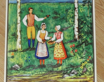 Swedish vintage 1940s Sigreid Kjellin design unused PAPER wall-hanging with multicolor Swedish youngsters in Småland landscape dresses