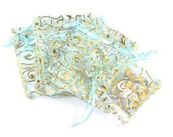 20 bags organza blue 9x7cm sleeves pattern