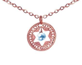 Jewish Star necklace, Star of David, Rose Gold necklace, Turquoise necklace, Judaica jewelry, Unique Jewish jewelry, Jewish wedding