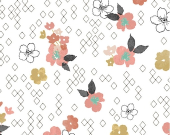 Coral Gold Nursery Crib Sheets - Girls Crib Bedding / Changing Pad Covers / Fitted Crib Sheets / Floral Nursery Bedding /Mini Crib Sheets