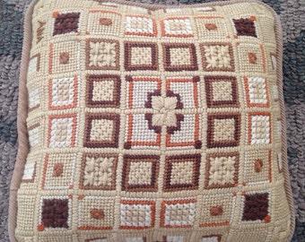 Bargello Stitched Needlepoint Pillow