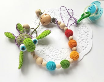 Dummy holder pacifier clip holder natural toy baby teething toy pacifier holder baby gift teether rattle baby toy rainbow toy