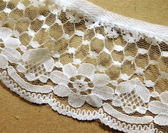 "White Ruffle Lace Trim  2"" Wide 1-1/2 yards"