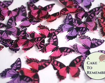 """24 red and purple edible butterflies. 1.5"""" across, romantic goth wedding cake topper, wafer paper butterflies for cupcake decorating."""