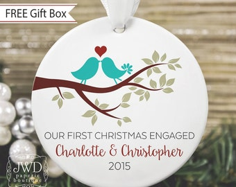 First Christmas Engaged Personalized Christmas Ornament Engagement Christmas Ornament Lovebirds Name & Date Love Bird Ornament - Item# LBB-O