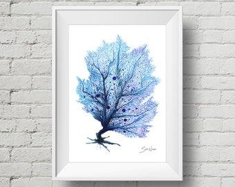 Fan Coral Blue : print blue sea fan coral watercolor painting