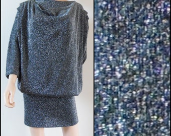70s oversized tight silver lurex dress French glittery lurex disco party dress size small