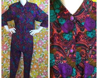 SALE! 80s 90s Vintage 2 Piece Set Paisley Pants Blouse Set Medium Large
