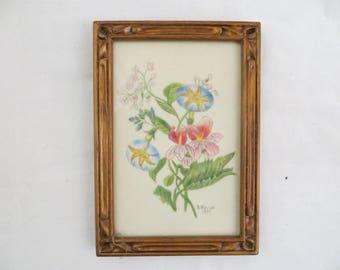 Petite Original Floral Theorem Vintage 1977 Morning Glory Flower B. Novak Framed