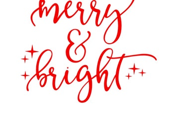 Merry and Bright - Merry & Bright Decal - Christmas Decal - Holiday Decal - Bumper Sticker - Christmas Gifts -