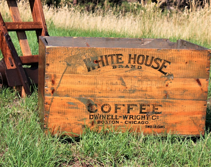 1909 White House Brand Coffee Large Wood Shipping Create, Industrial Decor, Coffee Box