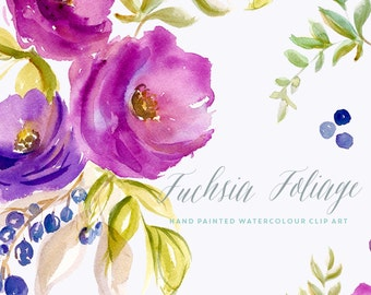 Flower Watercolour Clipart - Fuchsia Foliage