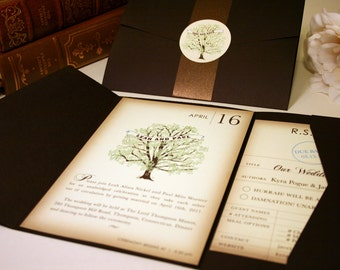Vintage Book Wedding Invitation, Rustic Wedding Invitations Vintage Tree Invitation Librarian Nerd Geek Invitation Bookworm Library RSVP Set