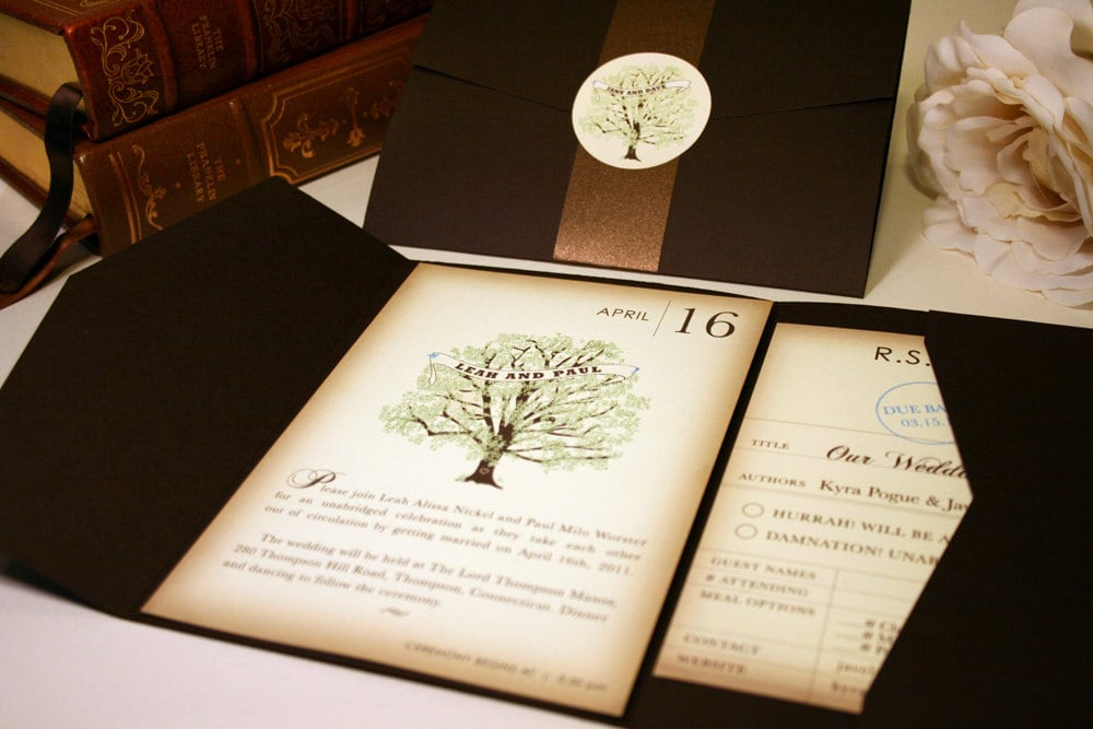 Vintage Book Wedding Invitation Rustic Wedding Invitations