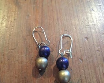 Purple and Gold drop earrings