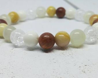 Gemstone bracelet. Beads Bracelet. Sunstone, Moonstone, white coral and Crackle quartz