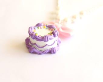 Birthday Cake Necklace Pastel Purple and Rainbow Sprinkles Cake Necklace Pastel Goth Jewelry Birthday Jewelry