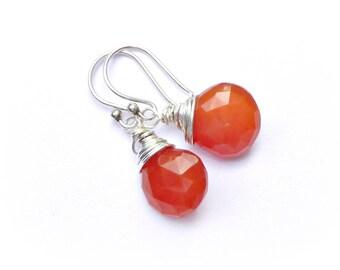 Carnelian Sterling Silver Wire Wrapped Earrings Gemstone Briolette Teardrop Earrings