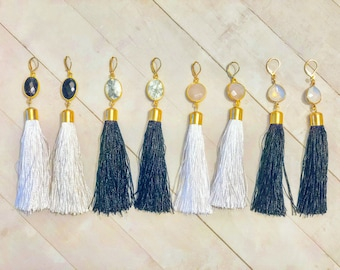 NEW! / Tassel dangle earrings/ white opal/ drop earrings/ wire wrapped bangles